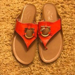Salvatore FERRAGAMO flats sandals slip on orange